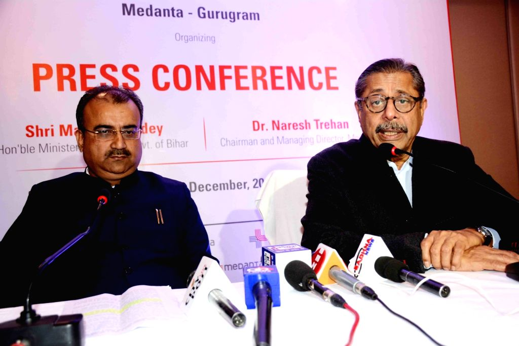 Medanta Medicity Chairman Naresh Trehan accompanied by Bihar Health Minister Mangal Pandey, addresses at a press conference in Patna on Dec 13, 2019. - Mangal Pandey