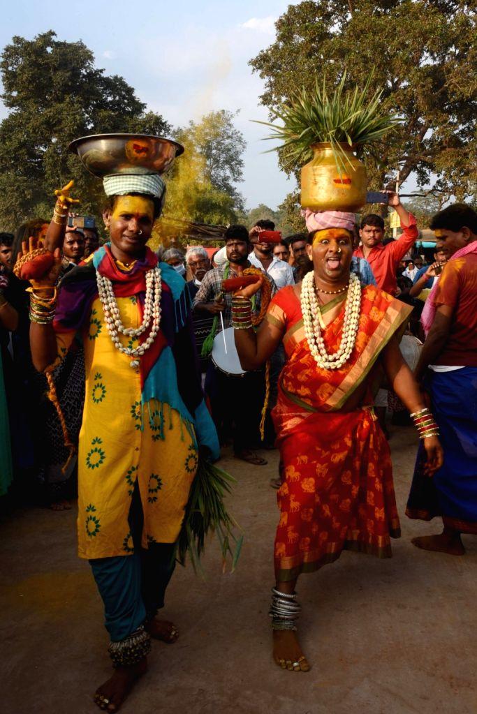 Medaram: Devotees during Asia's biggest tribal fair, Sammakka-Saralamma jatara at Medaram in Telangana's Mulugu district on Feb 5, 2020. Devotees, mostly tribals, from Telangana, Andhra Pradesh, Odisha, Chhattisgarh, Madhya Pradesh, Maharashtra, Karn