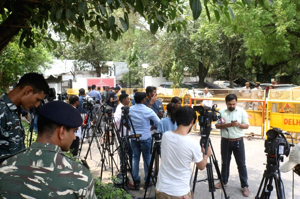 Media personnel outside the office of New Delhi's District Magistrate on June 5, 2018. A special court on Tuesday extended interim protection to former Union Minister P. Chidambaram from ... - P. Chidambaram