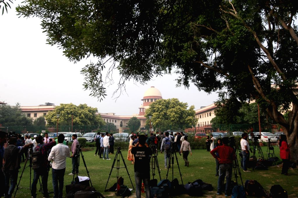 Media persons at the Supreme Court on the final day of hearing in the Ayodhya title dispute case, in New Delhi on Oct 16, 2019.