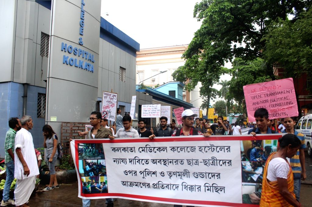 Medical students stage a demonstration to pres for their demands in Kolkata on June 9, 2018.