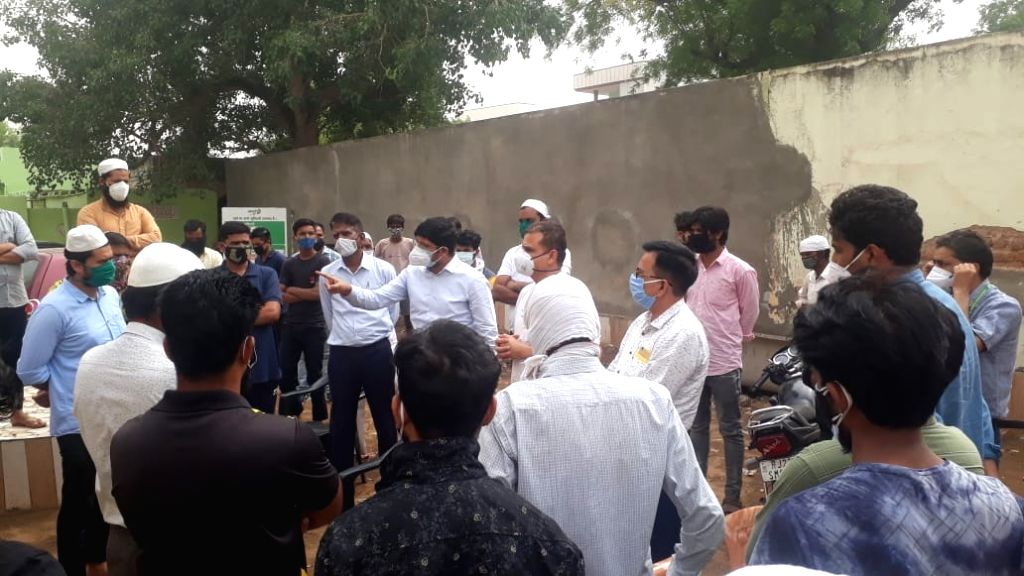 medical team in Sikar village  where 21 people lost lives allegedly after burying the Covid infected man without following protocol.