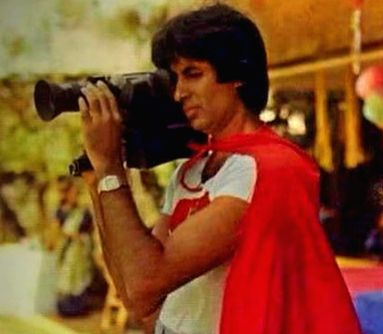 Megastar Amitabh Bachchan shared a throwback photograph of himself from his son Abhishek Bachchan's themed birthday party. In the photograph, Amitabh can be seen dressed as superman and holding a video camera. - Megastar Amitabh Bachchan and Abhishek Bachchan