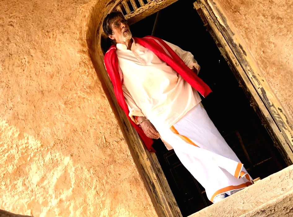 """Megastar Amitabh Bachchan sports dhoti and gamcha in the first look of his character from upcoming Tamil film """"Uyarntha Manithan"""", which marks his Tamil film debut in a full-fledged role. - Megastar Amitabh Bachchan"""