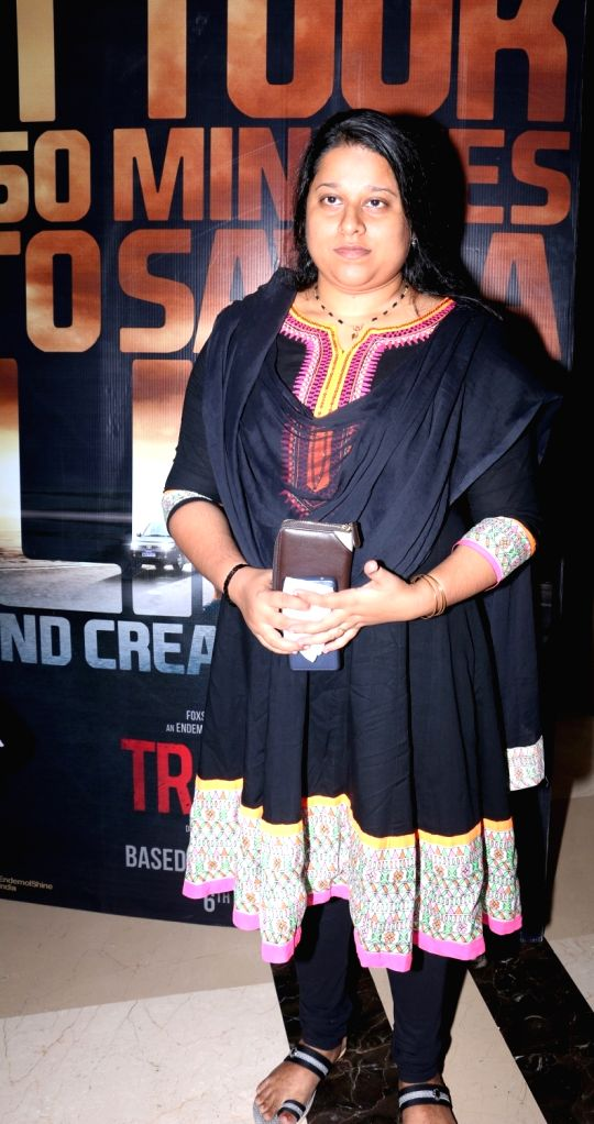 Megha Pillai, wife of director late Rajesh Pillai during the screening of film Traffic in Mumbai on May 5, 2016.