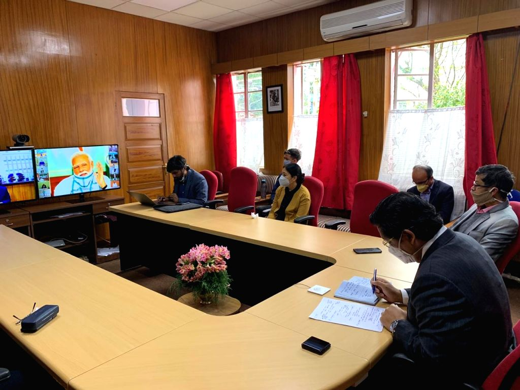 Meghalaya Chief Minister Conrad Sangma attends the 4th interaction with Chief Ministers of all states and Union territories chaired by Prime Minister Narendra Modi through video ... - Conrad Sangma and Narendra Modi