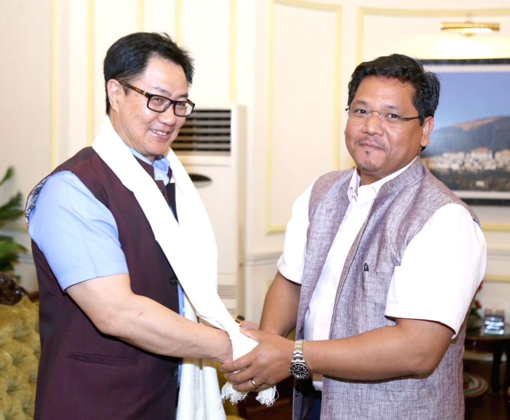 Meghalaya Chief Minister Conrad Sangma calls on Union MoS Home Affairs Kiren Rijiju, in New Delhi on April 3, 2018. - Conrad Sangma