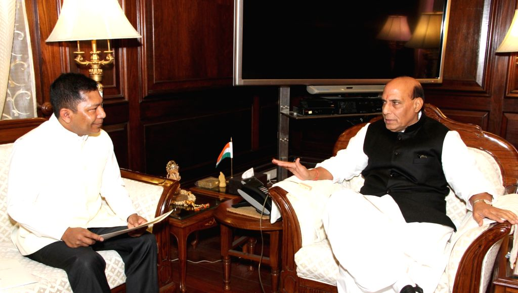 Meghalaya Chief Minister Dr. Mukul Sangma calls on Union Home Minister Rajnath Singh, in New Delhi on Jan 18, 2016. - D