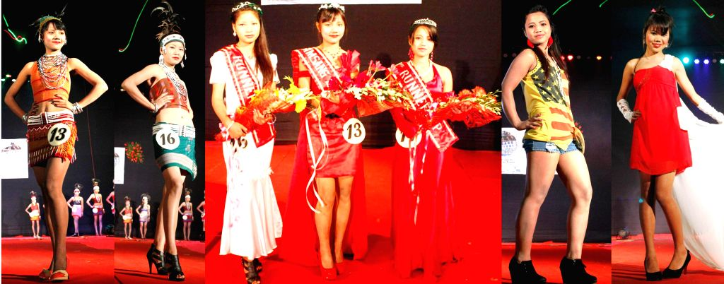 (Combo picture) Participants of the Annual Miss Simsang 2014 beauty pageant during the two-day long `Simsang Festival 2014` held at Williamnagar (East Garo Hills), Meghalaya on Dec 3, ...