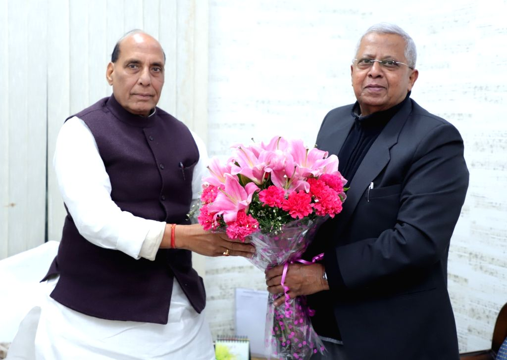 Meghalaya Governor Tathagata Roy meets Union Home Minister Rajnath Singh, in New Delhi on Feb 8, 2019. - Rajnath Singh and Tathagata Roy