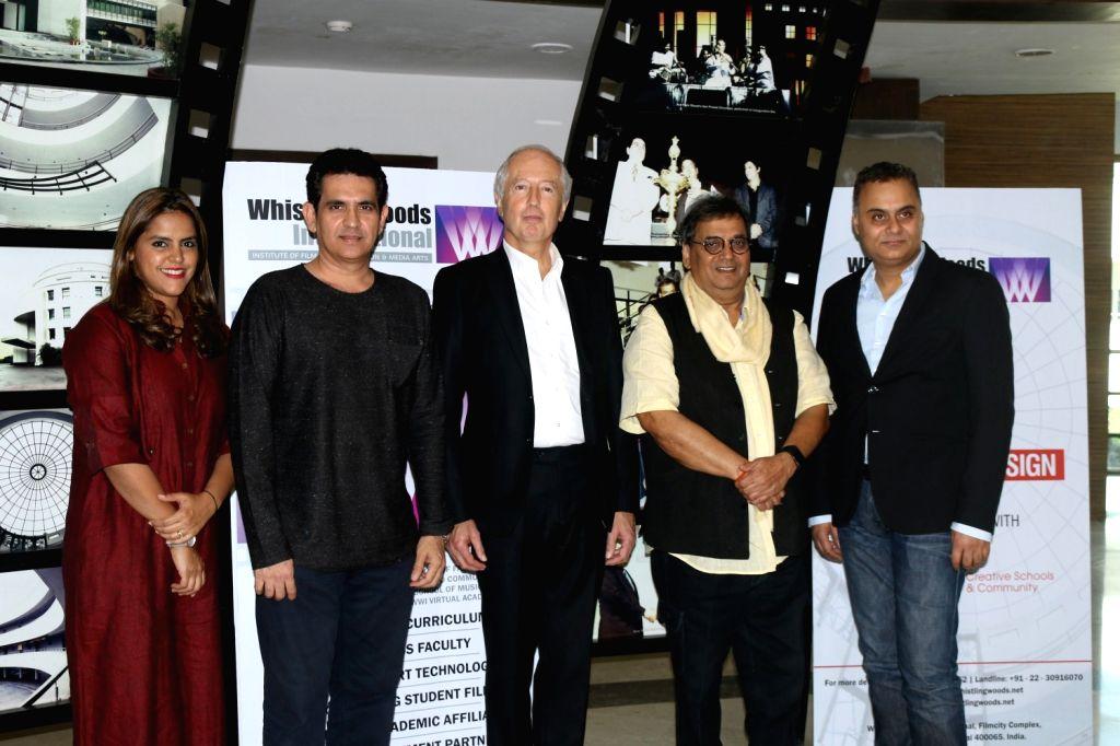 Meghna Ghai Puri, President, Whistling Woods International, Bollywood filmmaker Omung Kumar, Patrik Hermande, President of Ecole Communication Visuelle, Subhash Ghai, Bollywood filmmaker and ... - Omung Kumar and Neeraj Roy