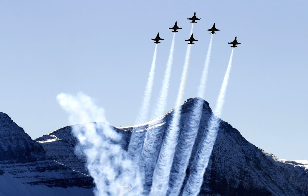 MEIRINGEN, Oct. 11, 2017 - Swiss Tiger F-5 fighter jets of the Patrouille Suisse perform during an air show of the Swiss Air Force on the Axalp near Meiringen Air Base, Swiss, on Oct. 11, 2017. The ...