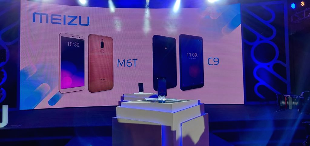 Meizu C9 and M6T on display at the launch of the smartphones in New Delhi, on Dec 5, 2018.