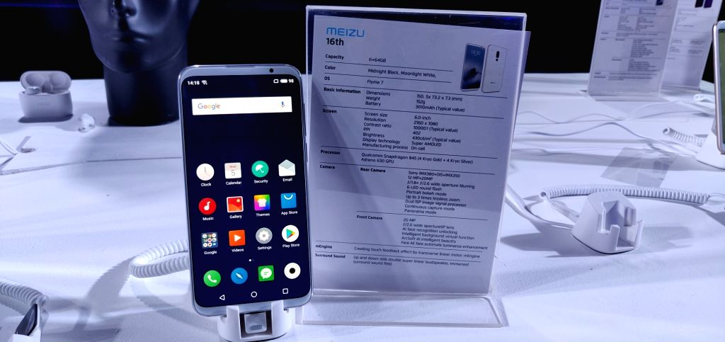 Meizu M16th on display at the launch of Meizu smartphones in New Delhi, on Dec 5, 2018.