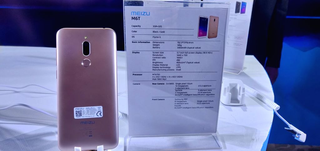 Meizu M6T on display at the launch of Meizu smartphones in New Delhi, on Dec 5, 2018.