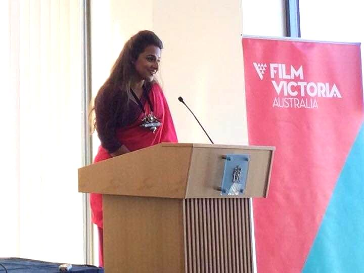Actress and brand ambassador of Indian Film Festival Vidya Balan during the launch of `The Indian Film Festival 2015` in Melbourne.