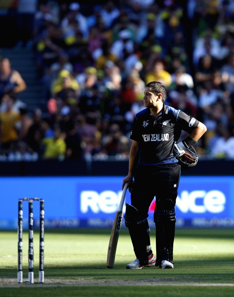 Melbourne (Australia): Ross Taylor of New Zealand during the final match of ICC World Cup 2015 between Australia and New Zealand at Melbourne Cricket Ground in Australia on March 29, 2015.