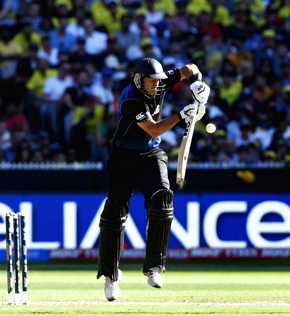 Melbourne (Australia): Ross Taylor of New Zealand in action during the final match of ICC World Cup 2015 between Australia and New Zealand at Melbourne Cricket Ground in Australia on March 29, 2015.