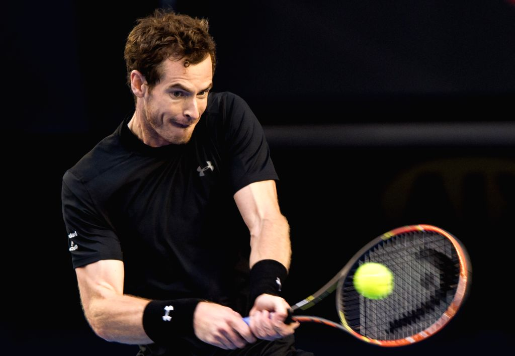 Andy Murray of Great Britain returns the ball during his men's singles final match against Novak Djokovic of Serbia at 2015 Australian Open tennis tournament at ...