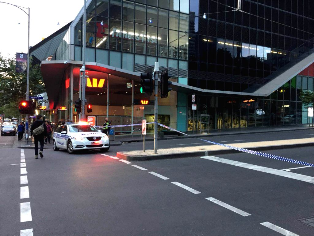 MELBOURNE, Feb. 15, 2018 - Photo taken by cellphone shows a road blocked by the police because of a suspicious package in downtown Melbourne, Australia, Feb. 15, 2018.