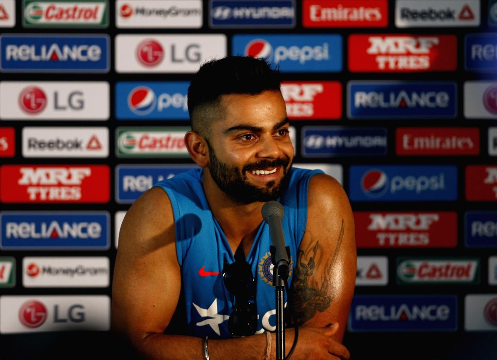 Indian cricketer Virat Kohli addresses during a press conference at Melbourne Cricket Ground (MCG) ahead of an ICC World Cup 2015 match - scheduled to be held on 22nd Feb 2015 - against ...