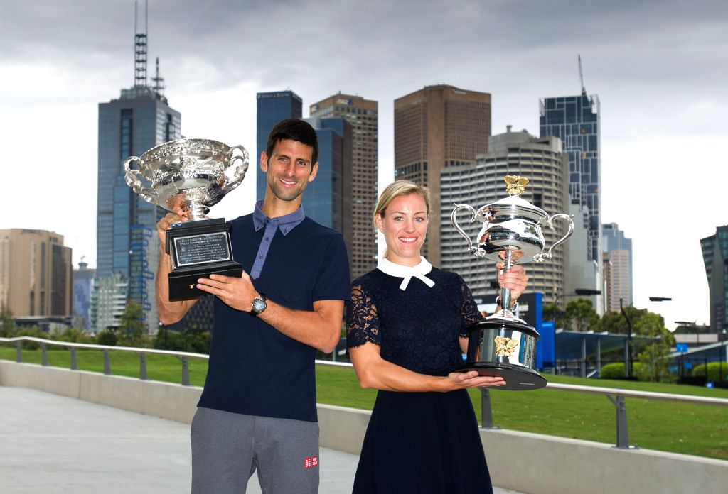 MELBOURNE, Jan. 13, 2017 - Novak Djokovic of Serbia (L) and Angelique Kerber of Germany attend the draw ceremony of Australian Open 2017 at Melbourne Park in Melbourne, Australia, Jan. 13, 2017. ...