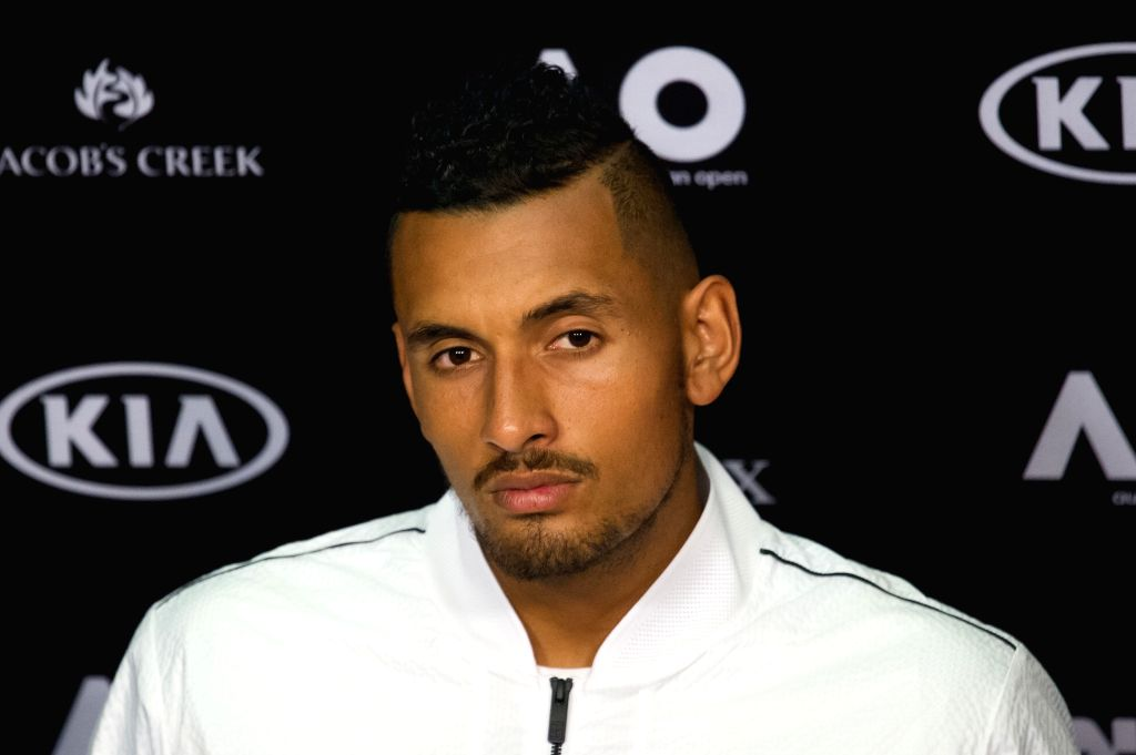MELBOURNE, Jan. 14, 2017 - Nick Kyrgios of Australia attends the press conference ahead of Australian Open 2017 at Melbourne Park in Melbourne, Australia, Jan. 14, 2017. Australian Open 2017 will ...