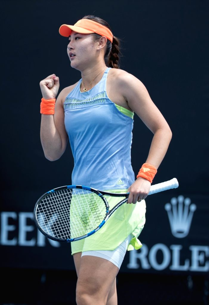 MELBOURNE, Jan. 15, 2018 - Duan Yingying of China celebrates scoring during a match against Mariana Duque-Marino of Colombia at the women's singles first round of Australian Open 2018 in Melbourne, ...