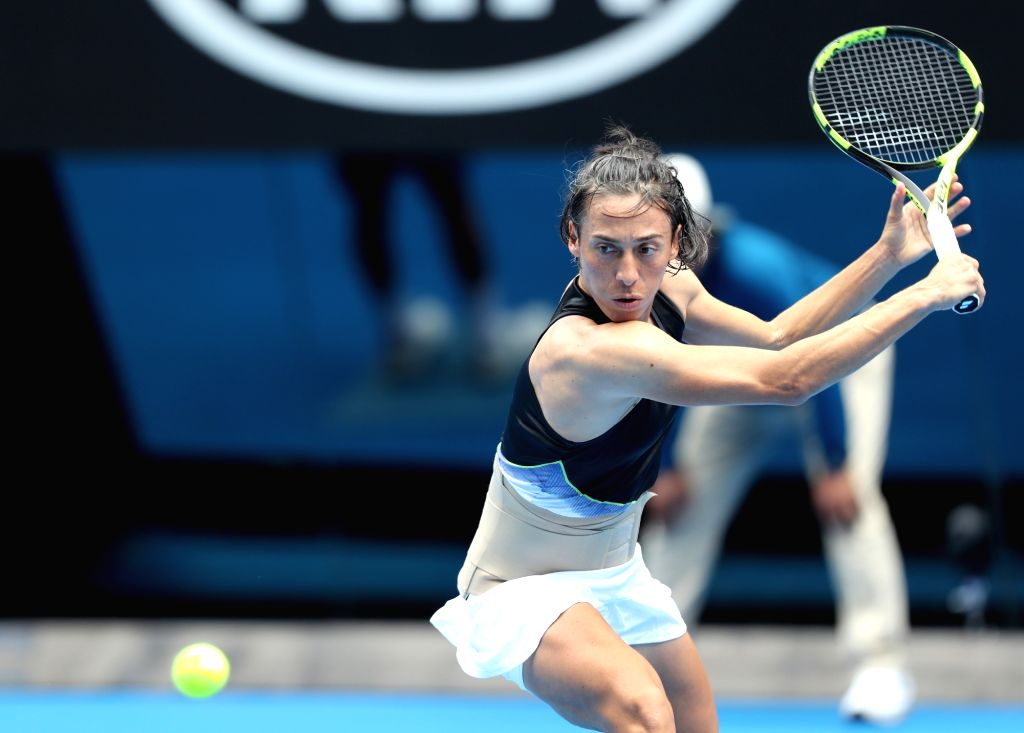 MELBOURNE, Jan. 15, 2018 - Francesca Schiavone of Italy hits a return during the women's singles first round match against Jelena Ostapenko of Latvia at Australian Open 2018 in Melbourne, Australia, ...