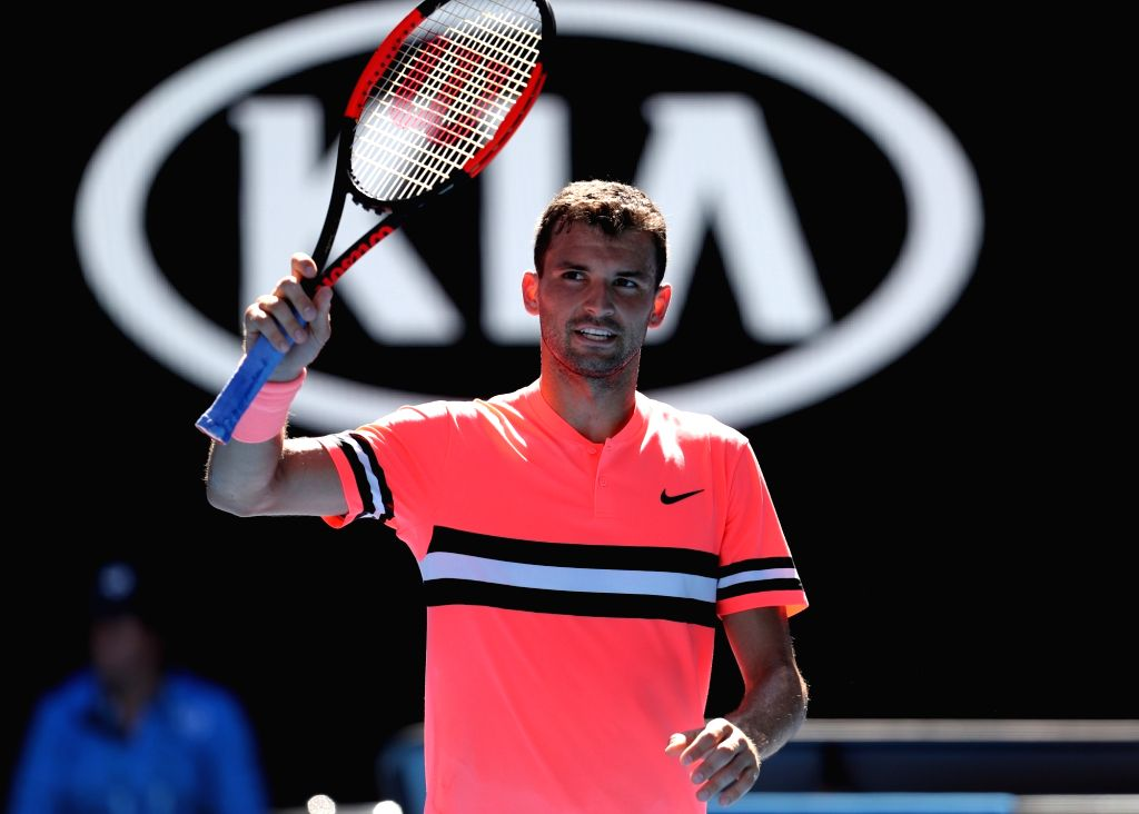 MELBOURNE, Jan. 15, 2018 - Grigor Dimitrov of Bulgaria waves to the spectators after winning the men's singles first round match against Dennis Novak of Austria at Australian Open 2018 in Melbourne, ...