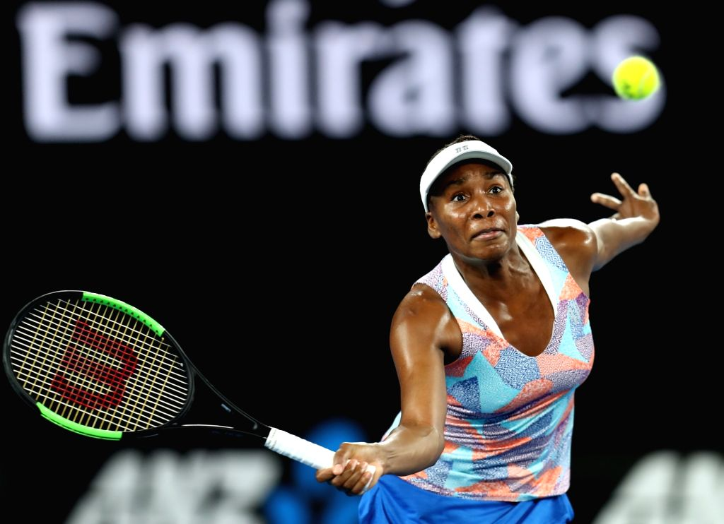 MELBOURNE, Jan. 15, 2018 - Venus Williams of the U.S. returns a shot during the women's singles first round match against Belinda Bencic of Switzerland at Australian Open 2018 in Melbourne, ...