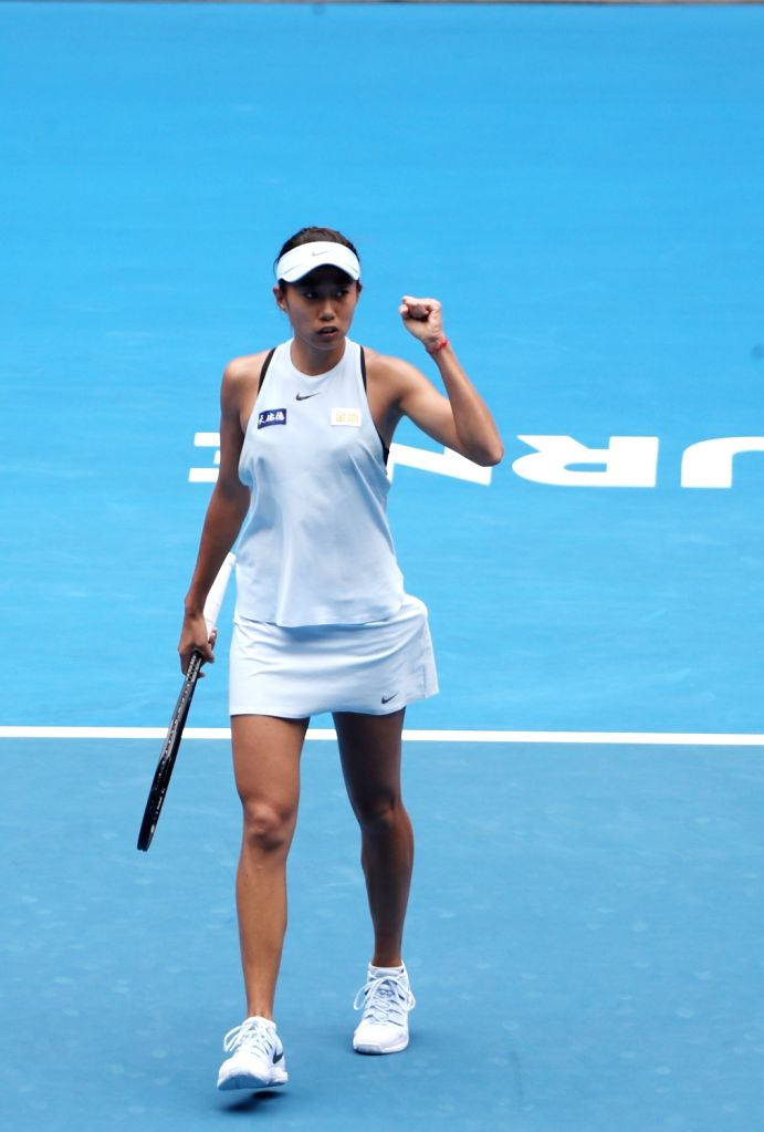 MELBOURNE, Jan. 15, 2018 - Zhang Shuai of China celebrates scoring during the women's singles first round match against Sloane Stephens of the U.S. at Australian Open 2018 in Melbourne, Australia, ...