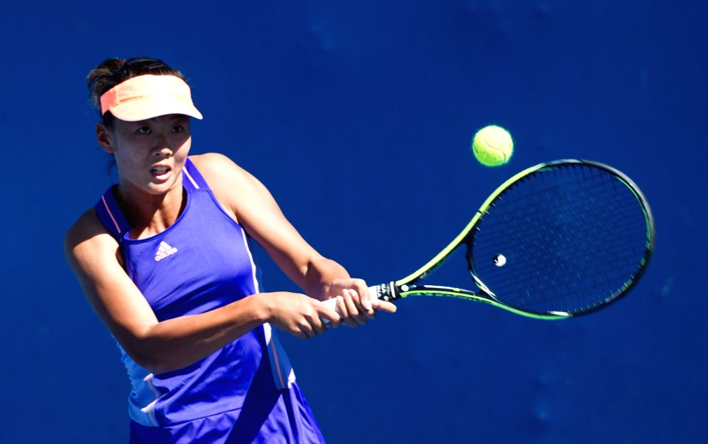 Liu Fangzhou of China returns the ball during the women's singles qualifying second round match against Barbora Krejcikova of the Czech Republic ahead of 2015 ...