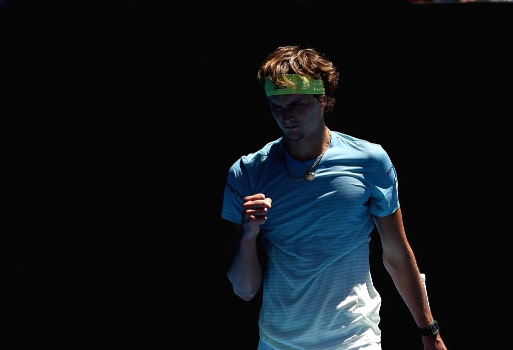 MELBOURNE, Jan. 16, 2018 - Alexander Zverev of Germany celebrates during the men's singles first round match against Thomas Fabbiano of Italy at the Australian Open tennis championships in Melbourne, ...