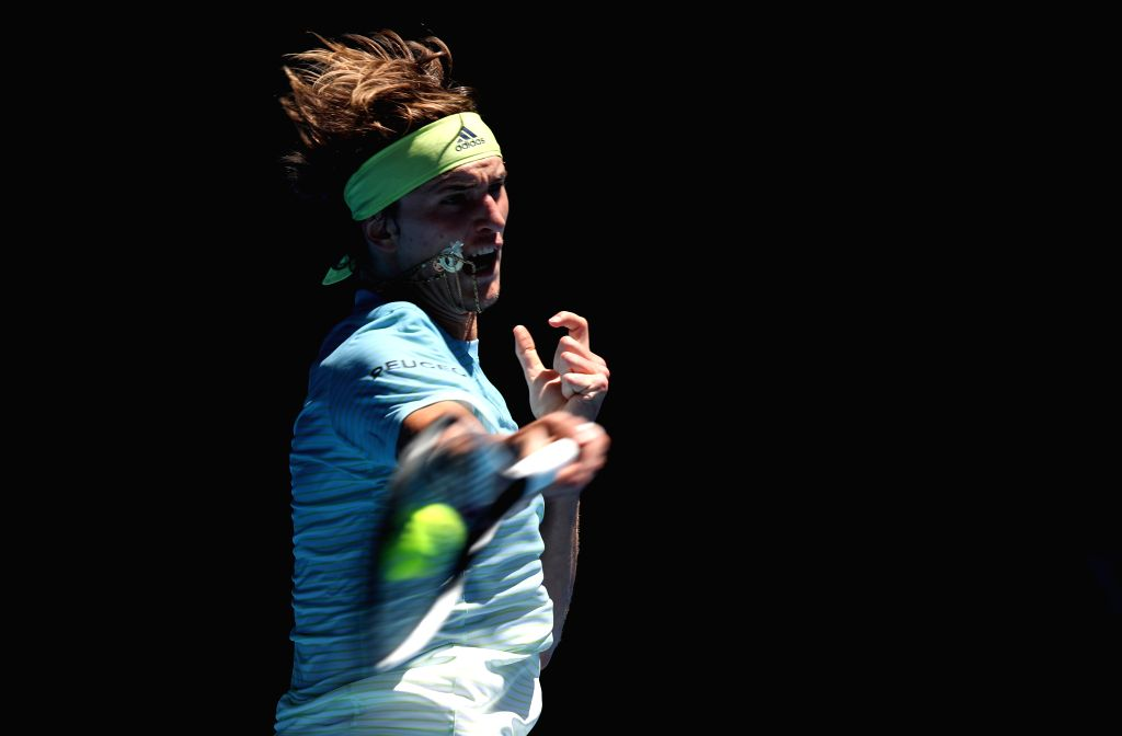 MELBOURNE, Jan. 16, 2018 - Alexander Zverev of Germany returns the ball during the men's singles first round match against Thomas Fabbiano of Italy at the Australian Open tennis championships in ...