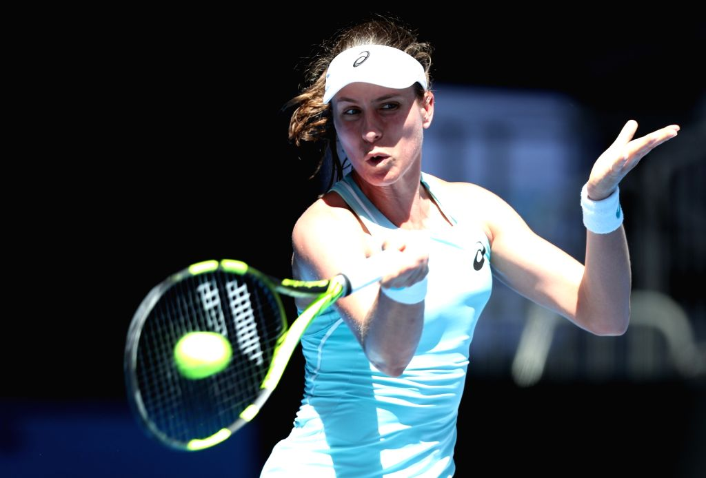 MELBOURNE, Jan. 16, 2018 - Johanna Konta of Britain returns a shot during the women's singles first round match against Madison Brengle of the United States at Australian Open 2018 in Melbourne, ...