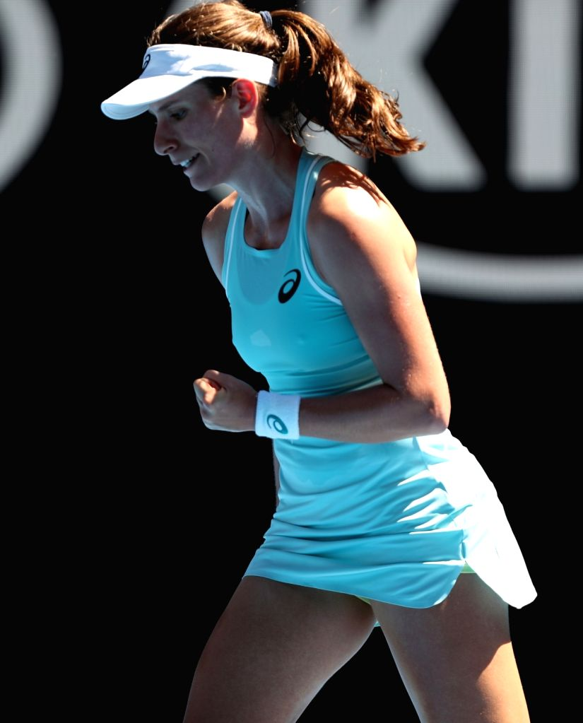 MELBOURNE, Jan. 16, 2018 - Johanna Konta of Britain celebrates during the women's singles first round match against Madison Brengle of the United States at Australian Open 2018 in Melbourne, ...