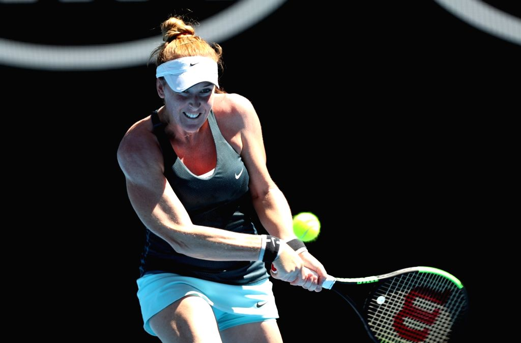 MELBOURNE, Jan. 16, 2018 - Madison Brengle of the United States returns a shot during the women's singles first round match against Johanna Konta of Britain at Australian Open 2018 in Melbourne, ...