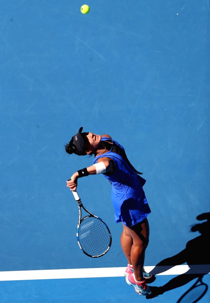 MELBOURNE, Jan. 16, 2018 - Veronica Cepede Royg of Paraguay serves during the women's singles first round match against Karolina Pliskova of the Czech Republic at Australian Open 2018 in Melbourne, ...