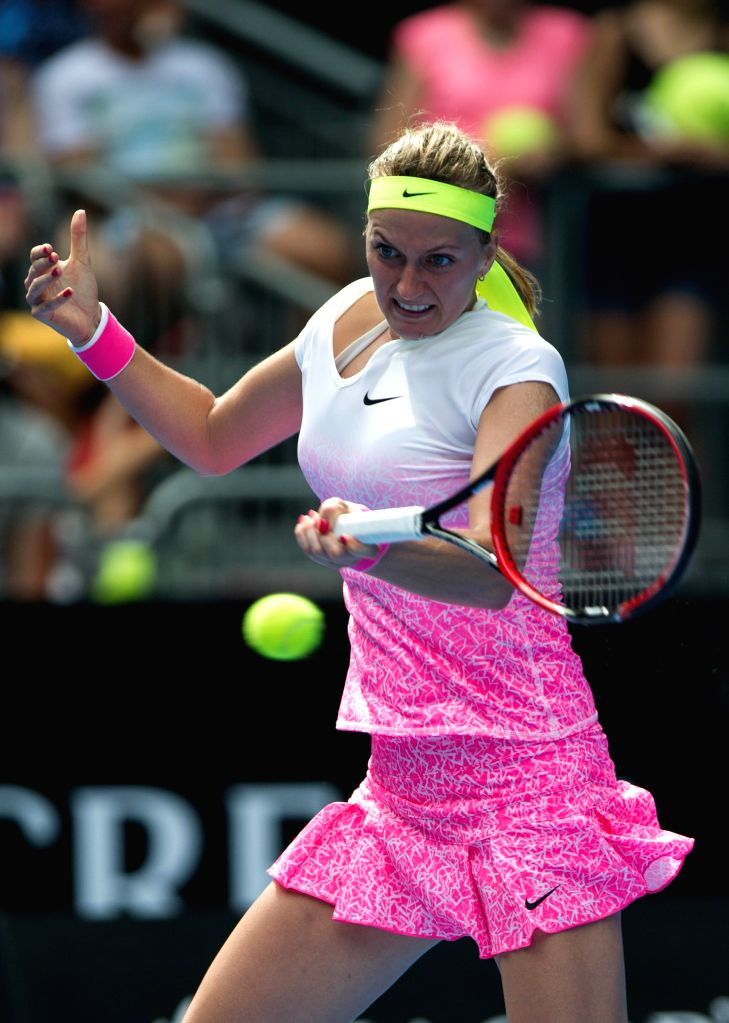 Petra Kvitova of the Czech Republic returns the ball during her women's singles first round match against Richel Hogenkamp of the Netherlands at the Australian ...