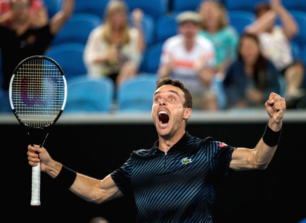 MELBOURNE, Jan. 20,2019 - Roberto Bautista Agut of Spain celebrates after the men's singles 4th round match against Marin Cilic of Croatia at the Australian Open in Melbourne, Australia, Jan. 20, ...