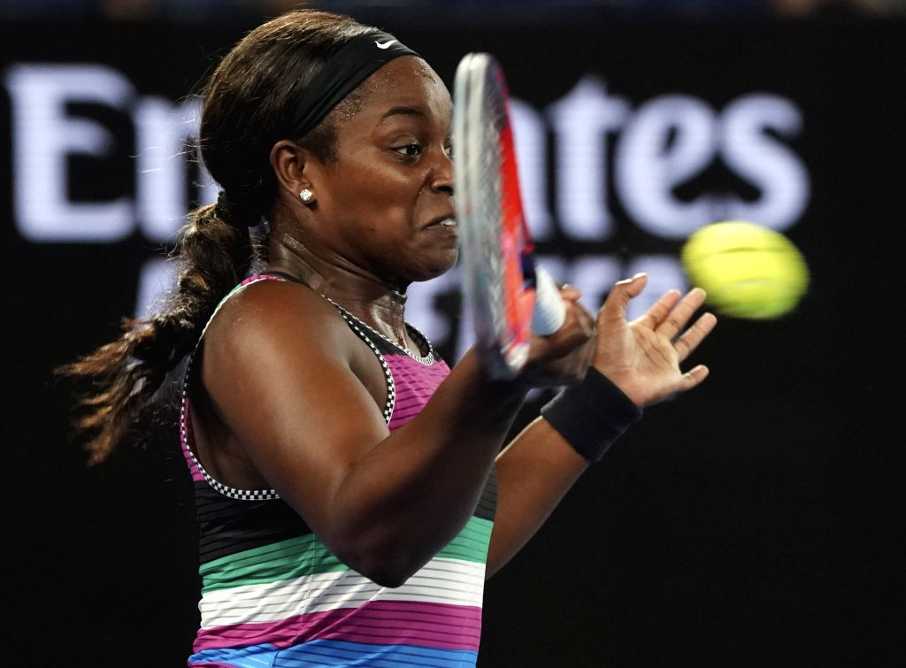 MELBOURNE, Jan. 20, 2019 - Sloane Stephens of the United States returns the ball during the women's singles 4th round match against Anastasia Pavlyuchenkova of Russia at the Australian Open in ...