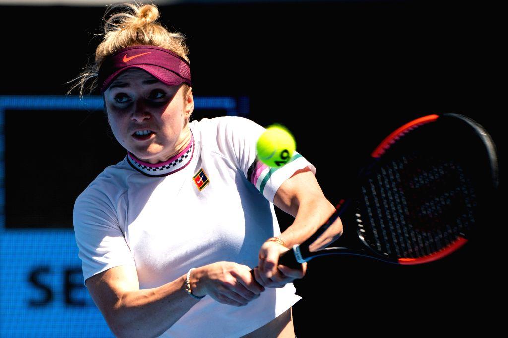MELBOURNE, Jan. 21, 2019 - Elina Svitolina hits a return during the women's singles 4th round match between Elina Svitolina of Ukraine and Madison Keys of the United States at the 2019 Australian ...