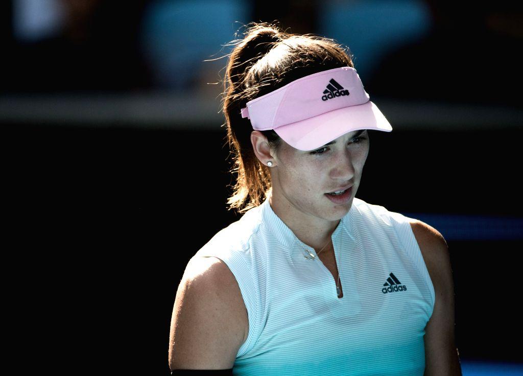 MELBOURNE, Jan. 21, 2019 - Garbine Muguruza reacts during the women's singles 4th round match between Garbine Muguruza of Spain and Karolina Pliskova of the Czech Republic at the 2019 Australian Open ...