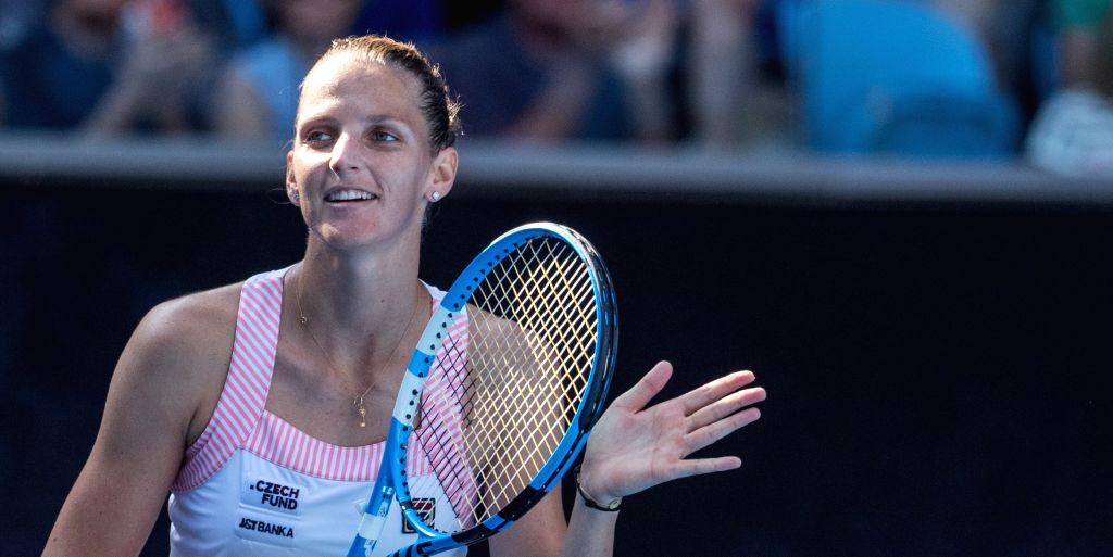MELBOURNE, Jan. 21, 2019 - Karolina Pliskova of the Czech Republic celebrates after the women's singles 4th round match against Garbine Muguruza of Spain at the 2019 Australian Open in Melbourne, ...