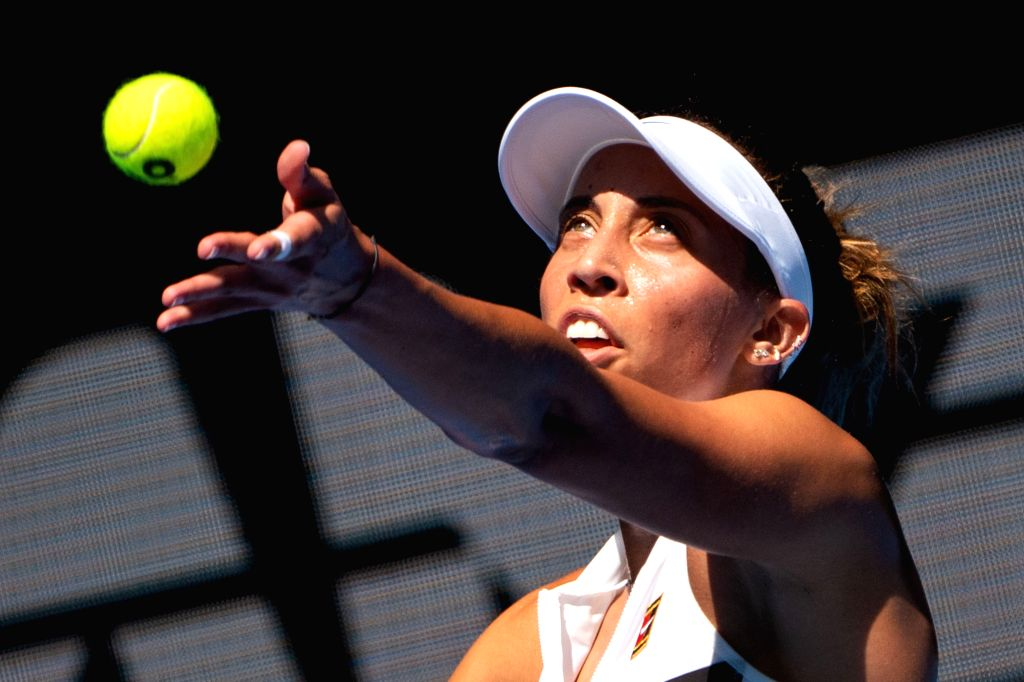 MELBOURNE, Jan. 21, 2019 - Madison Keys serves during the women's singles 4th round match between Elina Svitolina of Ukraine and Madison Keys of the United States at the 2019 Australian Open in ...