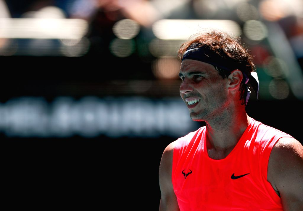 MELBOURNE, Jan. 21, 2020 (Xinhua) -- Rafael Nadal of Spain reacts during the men's singles first round match against Hugo Dellien of Bolivia at the Australian Open tennis championship in Melbourne, Australia on Jan. 21, 2020. (Xinhua/Wang Jingqiang/I