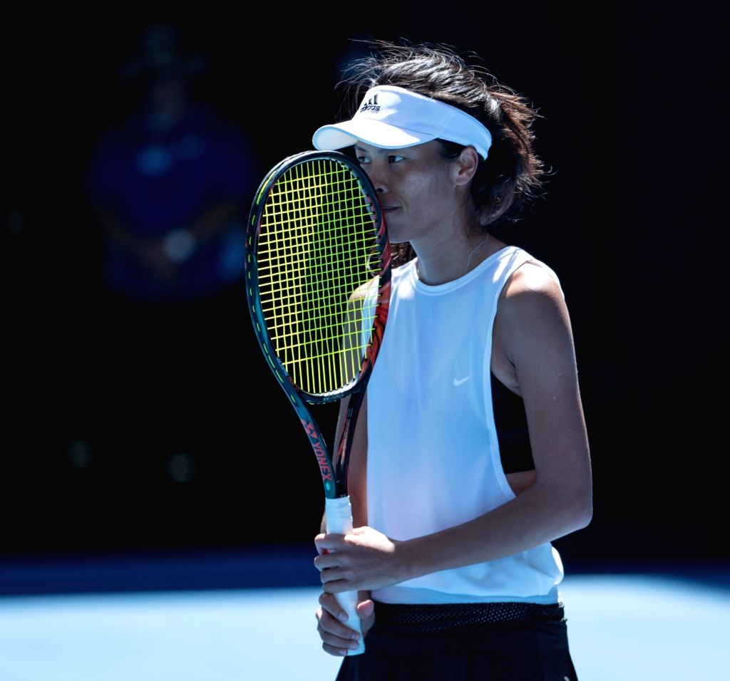 MELBOURNE, Jan. 22, 2018 - Hsieh Su-wei of Chinese Taipei reacts during the women's singles fourth round match against Angelique Kerber of Germany at Australian Open 2018 in Melbourne, Australia, ...