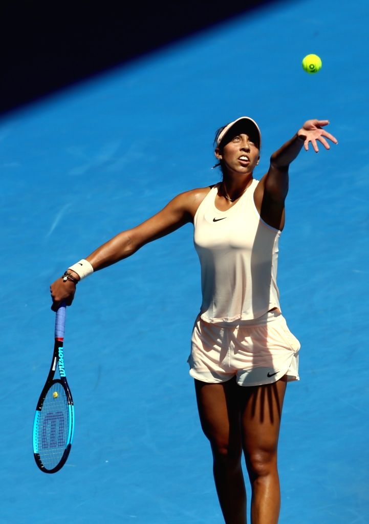MELBOURNE, Jan. 22, 2018 - Madison Keys of the United States serves during the women's singles fourth round match against Caroline Garcia of France at Australian Open 2018 in Melbourne, Australia, ...
