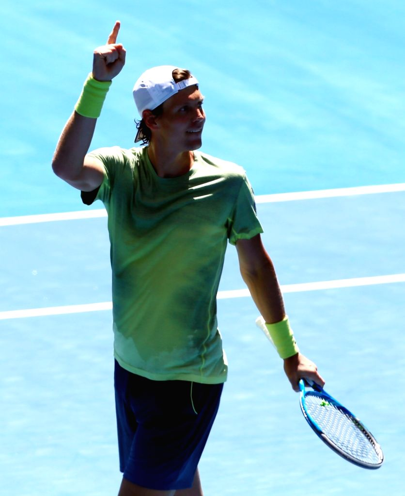 MELBOURNE, Jan. 22, 2018 - Tomas Berdych of the Czech Republic celebrates after winning the men's singles fourth round match against Fabio Fognini of Italy at Australian Open 2018 in Melbourne, ...